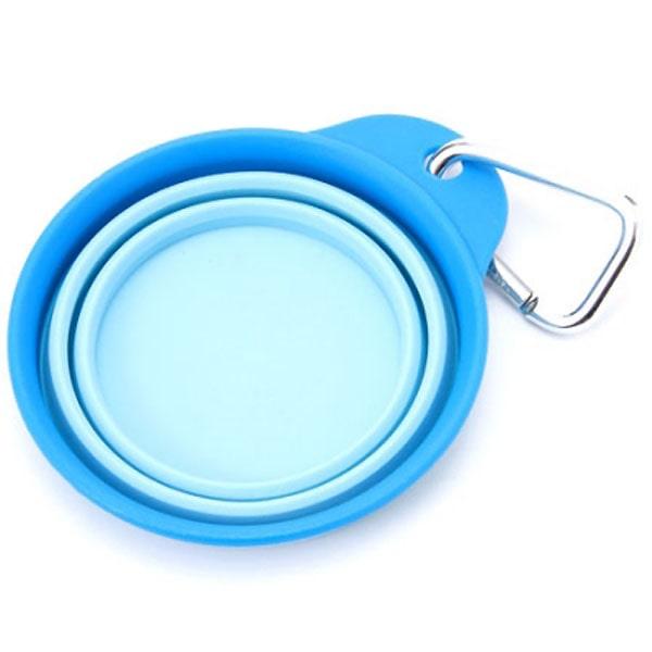 折りたためるペット食器ブルー