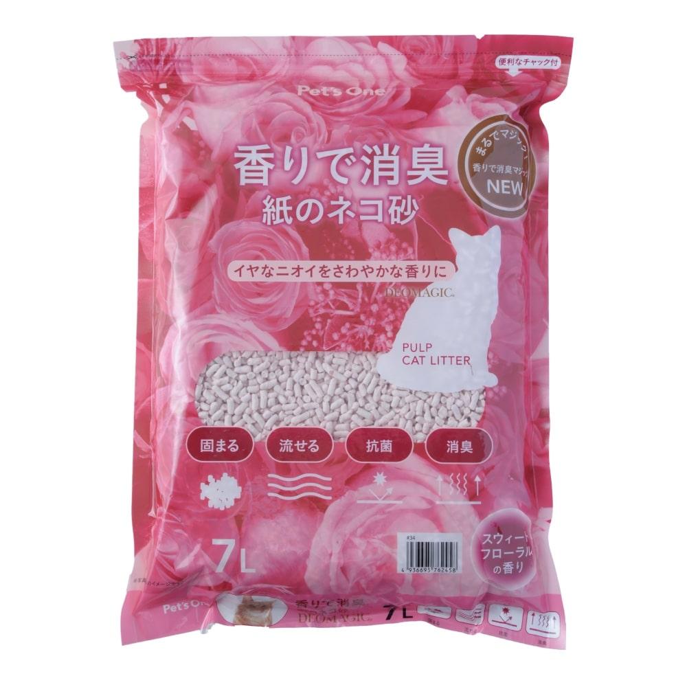猫砂 デオマジック 香りで消臭 紙のネコ砂 スウィートフローラルの香り 7L(1Lあたり 約71.2円)