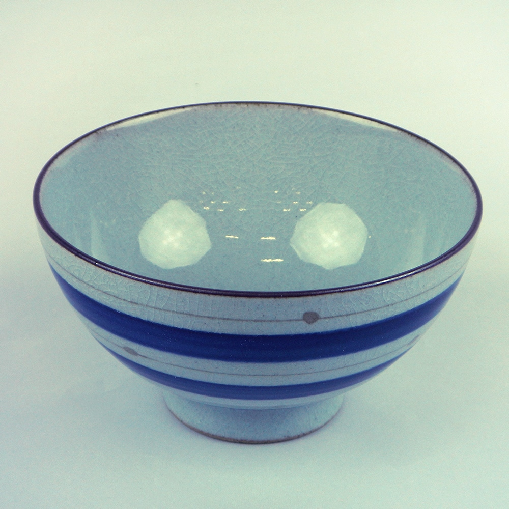 飯碗(大)点彩駒 ブルー