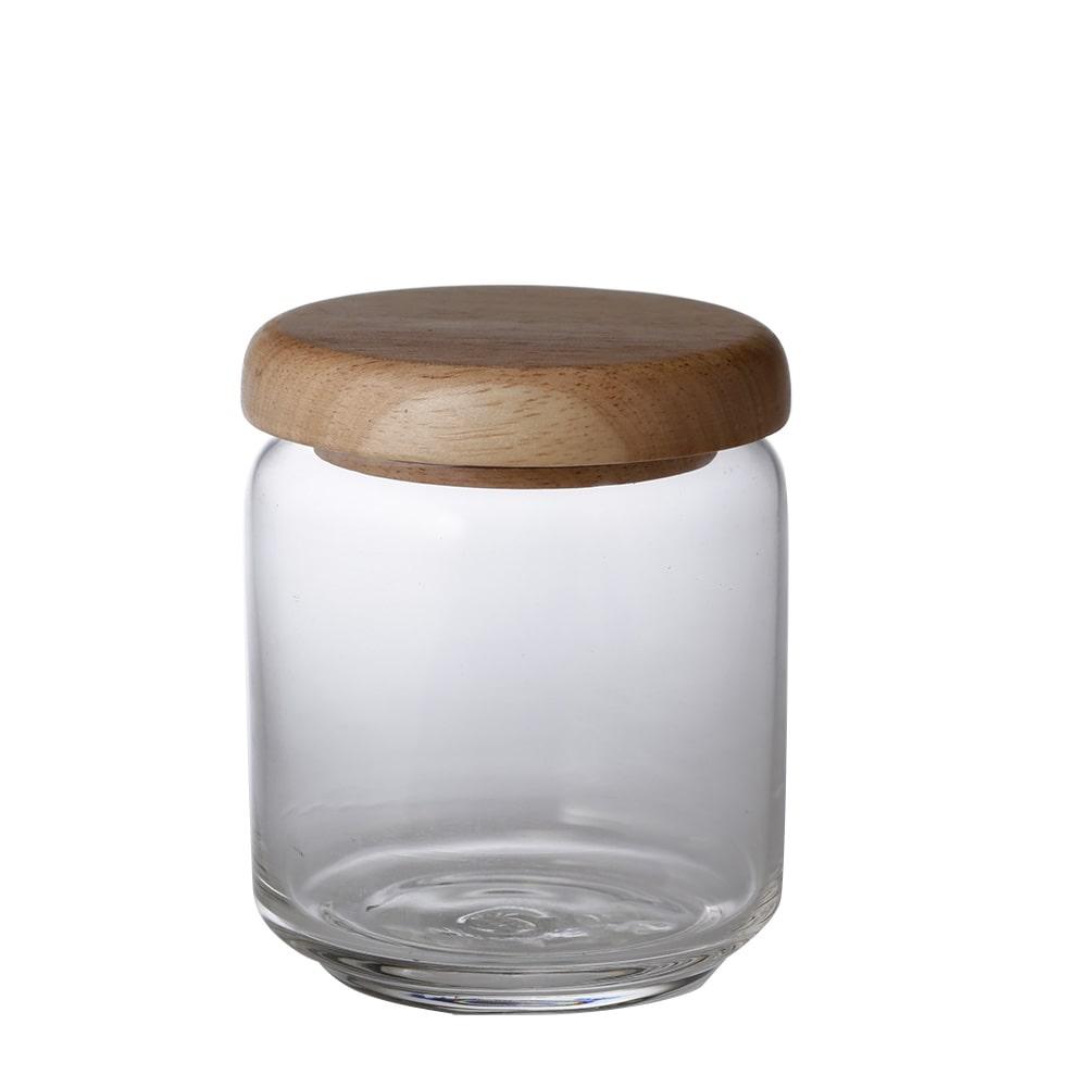 【trv】ラバーウッドキャップガラスジャー 400ml