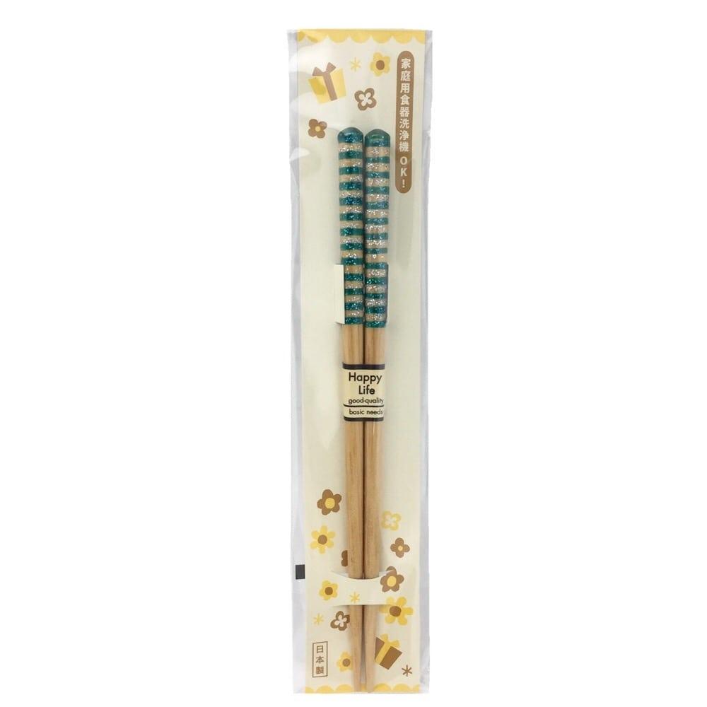 アオバ 食洗子供箸 キララボーダー青 18cm