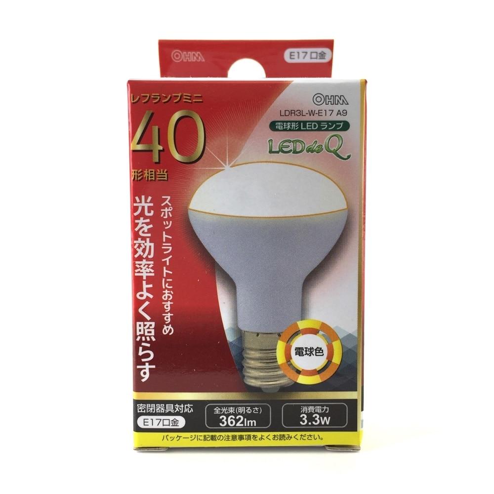 オーム電機 LEDレフ形電球 LDR3L-W-E17A9