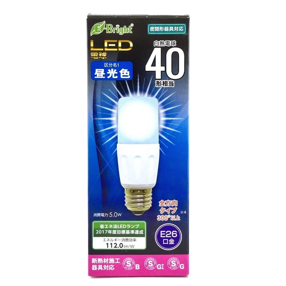 イーブライト LED電球 円筒型電球形 E26 40形相当 昼光色 5W 560lm 全方向 110mm E-Bright 密閉器具 断熱材施工器具対応 LDT5D-G IS20 06-2940
