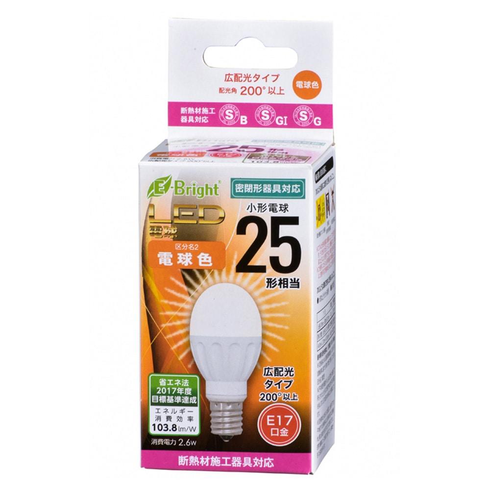 オーム LED電球 ミニクリプトン形 E17 25形相当 電球色 2.6W 270lm 広配光 78mm OHM 密閉器具 断熱材施工器具対応 LDA3L-G-E17 IH21 06-3350
