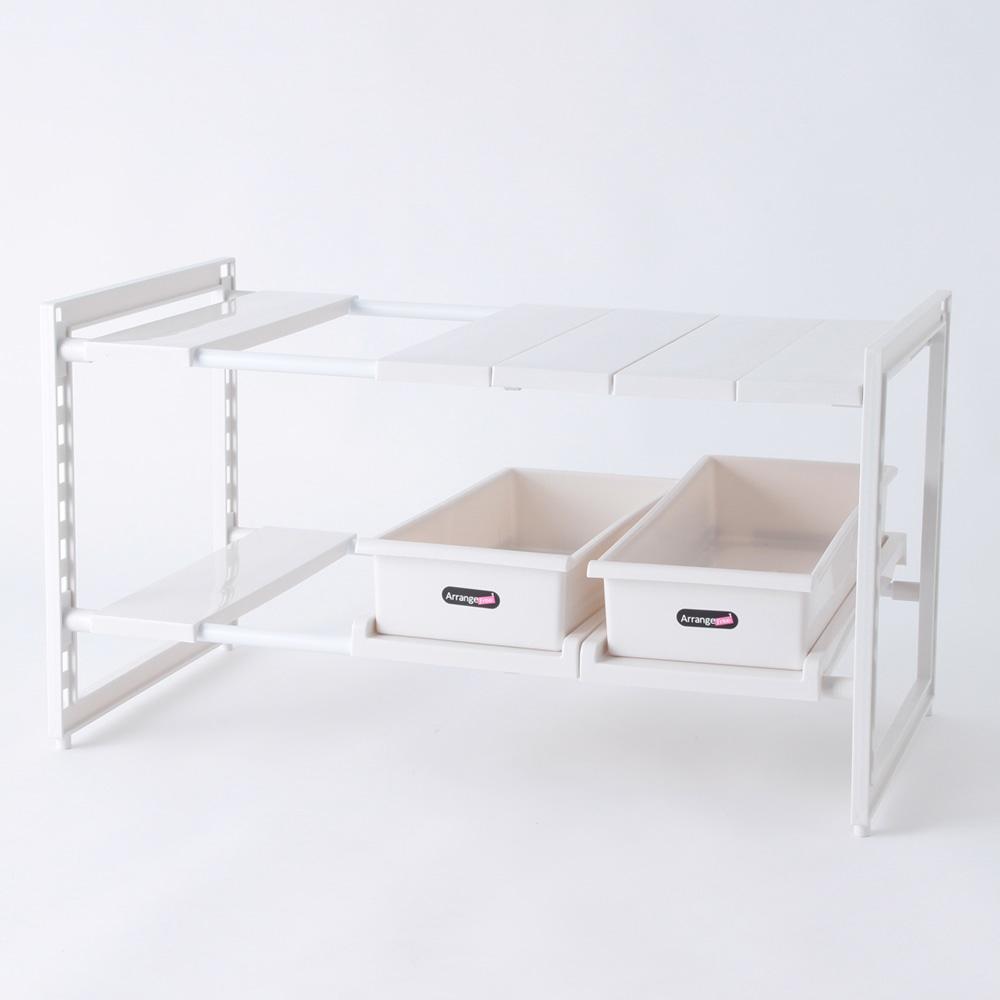 キッチン収納 スペースラック2段 ストッカー付 H5809