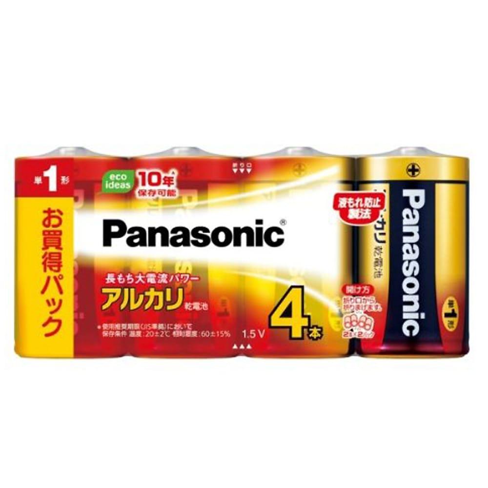 パナソニック アルカリ乾電池 単1形4本パック LR20XJ/4SW