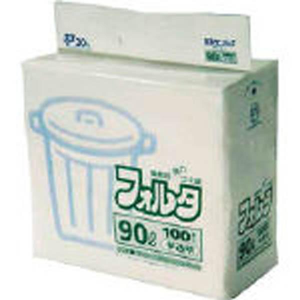 【CAINZ DASH】サニパック F−9H環優包装フォルタ90L白半透明 (1袋(PK)=100枚入)