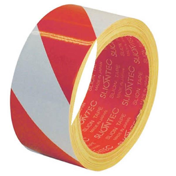 【CAINZ DASH】スリオン 危険表示用反射テープ 90mm×10m(赤/白)