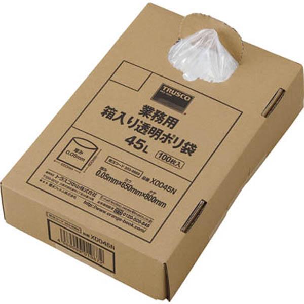 【CAINZ DASH】TRUSCO まとめ買い 業務用ポリ袋 透明・箱入り 0.05X45L  (100枚入)