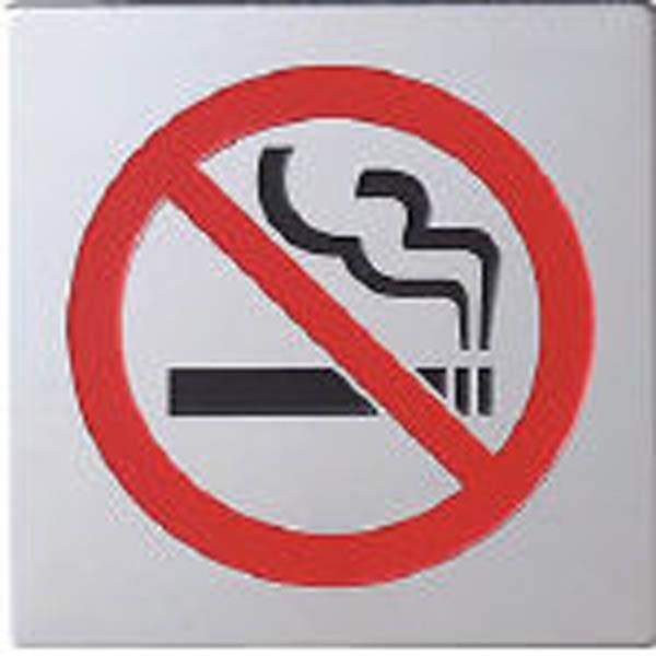 【CAINZ DASH】光 ステンレスサイン禁煙マーク40×40×0.8mm