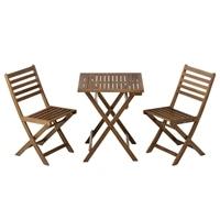 【訳あり商品】 木製テーブル&チェア2脚セット  (未使用・イス1脚なし)