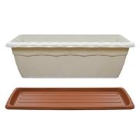 【セット商品】クイーンプランターホワイト & クイーンプレートブラウン 550型