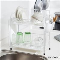 【訳あり商品】水も流れる水切りカゴ スリム2段(箱破損)