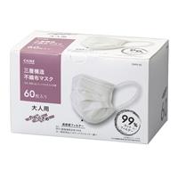 【ネット限定】三層構造 不織布マスク 大人用 やや小さめ 60枚