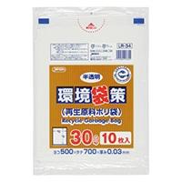 【ケース販売】業務用ポリ袋 環境袋策 30L LR-34 白半透明 300枚(10枚入×30冊)【別送品】