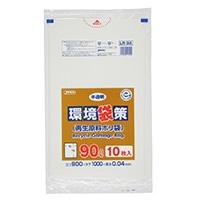 【ケース販売】LR94 業務用ポリ袋 環境袋策 90L 白半透明 300枚(10枚入×30冊)【別送品】