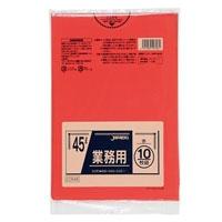 【ケース販売】CCR45 業務用カラーポリ袋 45L 赤 600枚(10枚×60冊)【別送品】