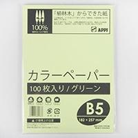 カラーペーパー100枚入り B5 グリーン 束