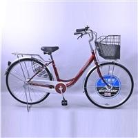 【自転車】【全国配送】《ダンロップ》軽快車 オートライト ノウム 26インチ レッド【別送品】