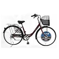 【自転車】《ダンロップ》軽快車 ダンロップ D-ブリズ 26インチ6段変速 AL レッド