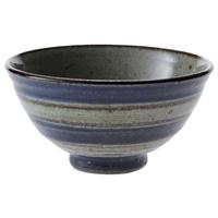 【trv・数量限定】手描きこま筋 茶碗 青