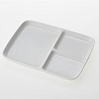 仕切り付き角皿白磁 HA4601