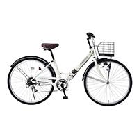 【店舗限定】【自転車】《池商》M-507 折畳シティ26・6SP・肉厚チューブ アイボリー