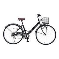 【店舗限定】【自転車】《池商》M-507 折畳シティ26・6SP・肉厚チューブ マットブラック