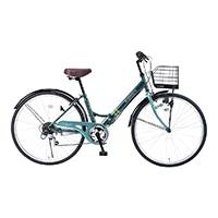 【店舗限定】【自転車】《池商》M-507 折畳シティ26・6SP・肉厚チューブ グリーン
