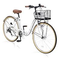 【店舗限定】【自転車】《池商》M-509 PRINTEMPS 折畳シティ26・6SP・オートライト ホワイト