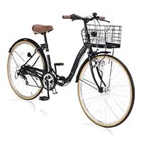 【店舗限定】【自転車】《池商》M-509 PRINTEMPS 折畳シティ26・6SP・オートライト ブラック