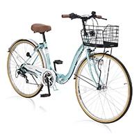 【店舗限定】【自転車】《池商》M-509 PRINTEMPS 折畳シティ26・6SP・オートライト クールミント