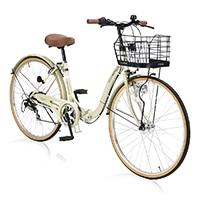 【店舗限定】【自転車】《池商》M-509 PRINTEMPS 折畳シティ26・6SP・オートライト アイボリー