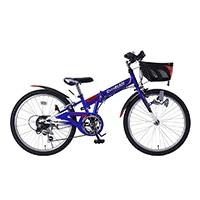 【自転車】《池商》M-822F 折畳ジュニアMTB22・6SP・CIデッキ ブルー