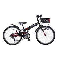 【自転車】《池商》M-822F 折畳ジュニアMTB22・6SP・CIデッキ ブラック