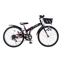 【自転車】《池商》M-824F 折畳ジュニアMTB24・6SP・CIデッキ ブラック