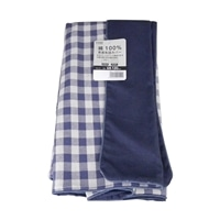 綿100%長座布団カバーチェックネイビー68x120