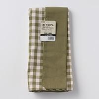 綿100%長座布団カバーチェックグリーン68x120