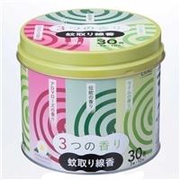 【数量限定】CAINZ 蚊取り線香 3つの香りA 30巻 缶入