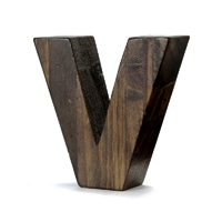 "【trv】WOOD DECO ALPHABET ""V"""