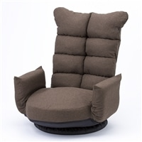A14 レバー式Vカット肘掛回転座椅子 ブラウン