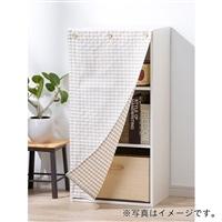 ボックス用カーテン ツイルチェック ベージュ 44×86cm