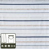 ボイルレースカーテンシンプルボーダー ブルー 100×198 2枚組