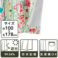 遮光性カーテン ボタニカル グリーン 100×178 2枚組