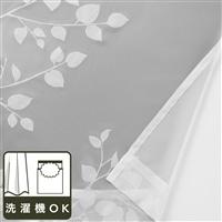 ボイルレースカーテン リーフィ— ホワイト 100×198 2枚組