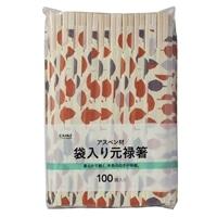 割箸 アスペン材 袋入元禄箸100膳 WBH-A100