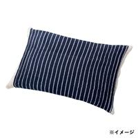 のびのびタオル枕カバー ネイビー 35×55(ストライプ筒型)