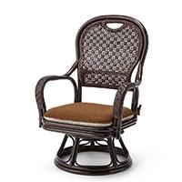 【SU】籐腰サポート回転座椅子 (ミドルタイプ)