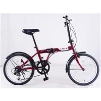 【自転車】【全国配送】折りたたみ自転車 Ville(ヴィレ) 外装6段 ワイン【別送品】