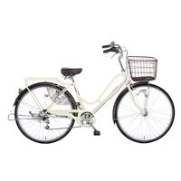 【自転車】【全国配送】KiLaLi パンクしにくいカジュアル軽快車 外装6段 26インチ アイボリー【別送品】